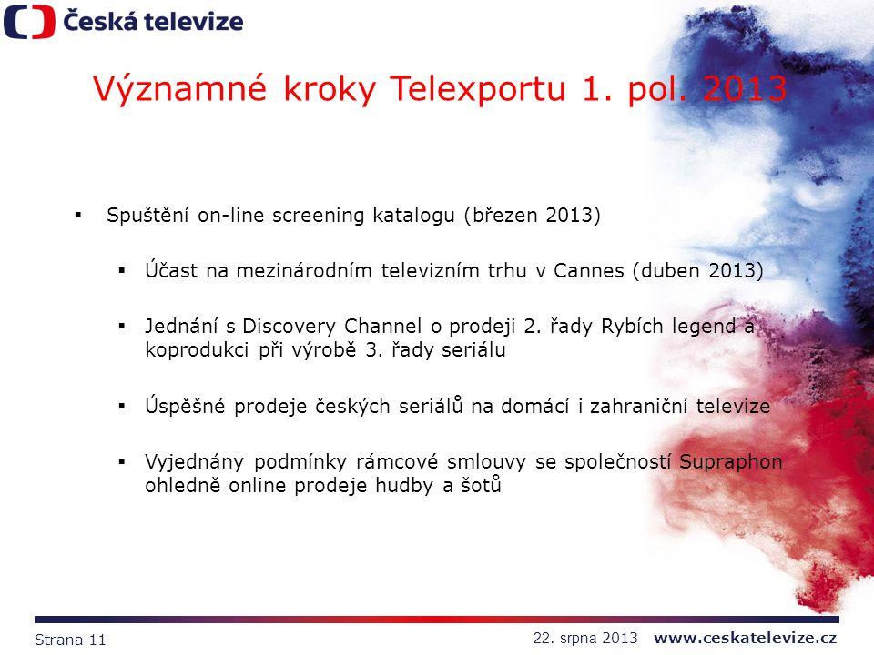 Strana 11 22. srpna 2013 www.ceskatelevize.cz Významné kroky Telexportu 1. pol. 2013  Spuštění on-line screening katalogu (březen 2013)  Účast na me