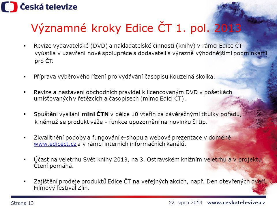 Strana 13 22. srpna 2013 www.ceskatelevize.cz  Revize vydavatelské (DVD) a nakladatelské činnosti (knihy) v rámci Edice ČT vyústila v uzavření nové s