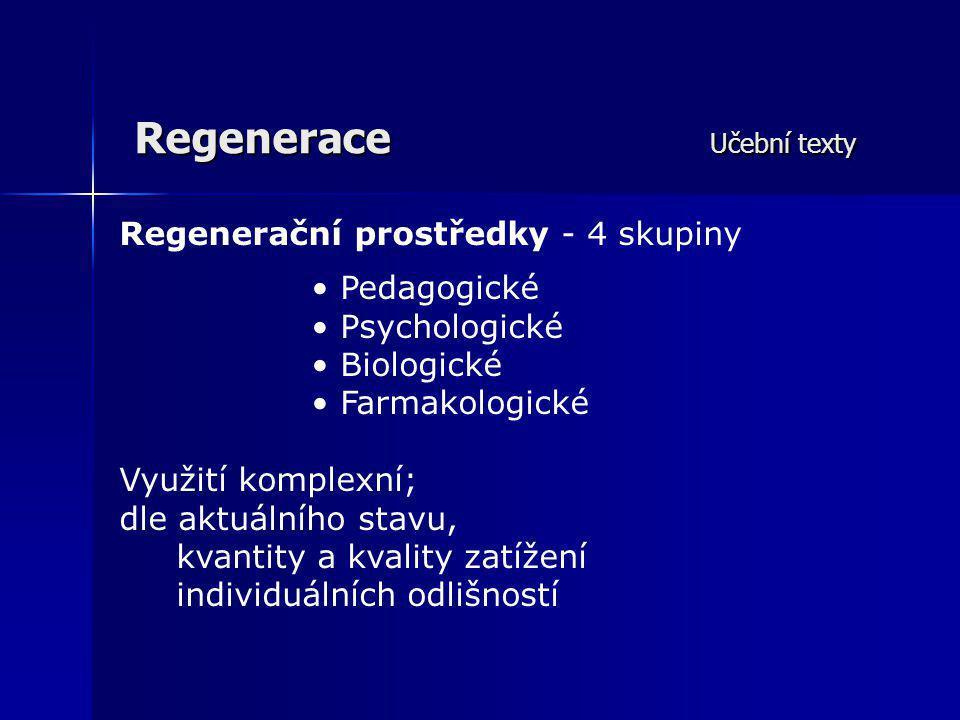 Regenerace Učební texty Regenerační prostředky - 4 skupiny Pedagogické Psychologické Biologické Farmakologické Využití komplexní; dle aktuálního stavu