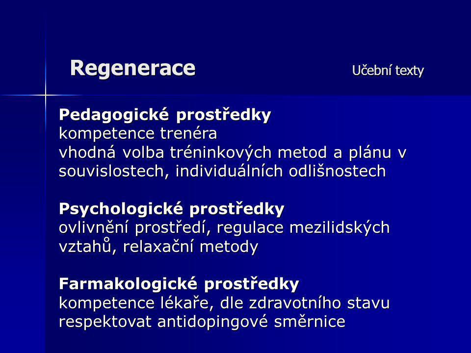 Regenerace Učební texty Pedagogické prostředky kompetence trenéra vhodná volba tréninkových metod a plánu v souvislostech, individuálních odlišnostech