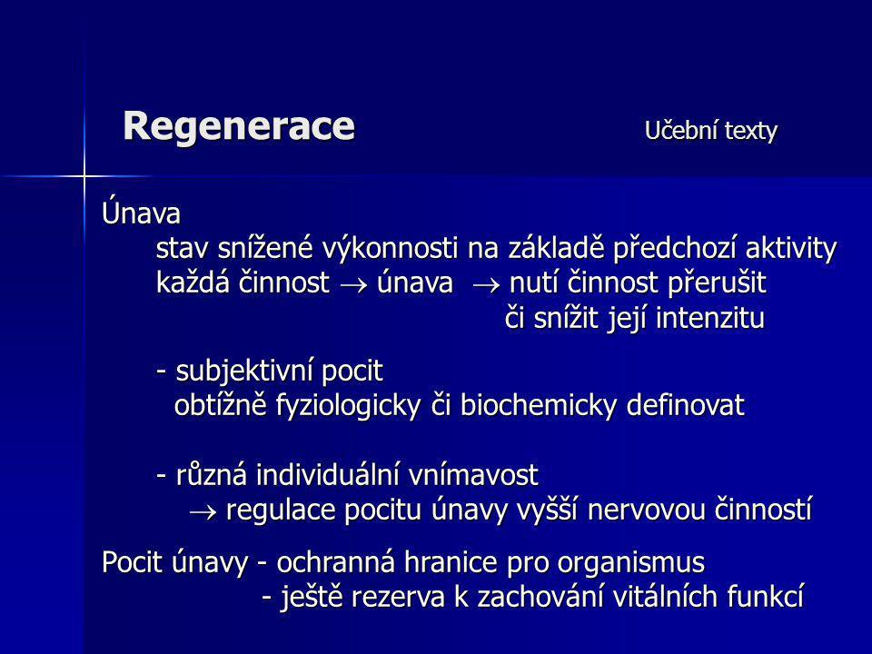 Regenerace Učební texty Únava stav snížené výkonnosti na základě předchozí aktivity stav snížené výkonnosti na základě předchozí aktivity každá činnos