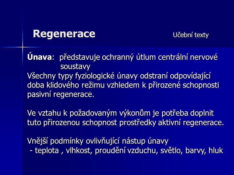 Regenerace Učební texty Únava: představuje ochranný útlum centrální nervové soustavy Všechny typy fyziologické únavy odstraní odpovídající doba klidov