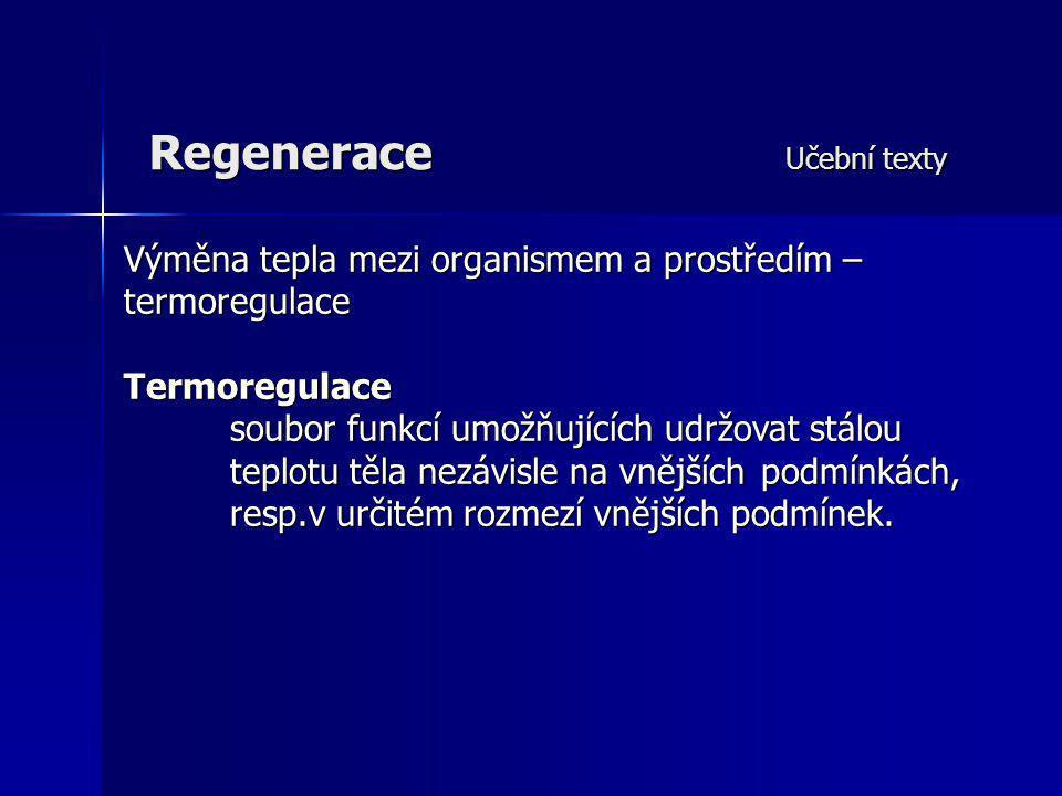 Regenerace Učební texty Výměna tepla mezi organismem a prostředím – termoregulace Termoregulace soubor funkcí umožňujících udržovat stálou teplotu těl