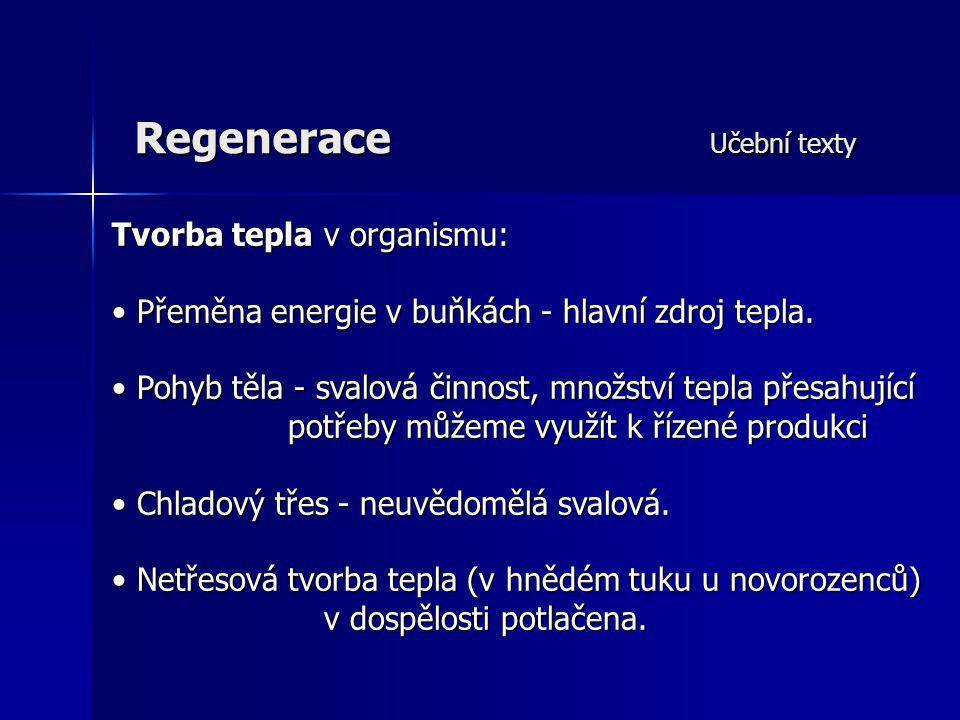 Regenerace Učební texty Tvorba tepla v organismu: Přeměna energie v buňkách - hlavní zdroj tepla. Přeměna energie v buňkách - hlavní zdroj tepla. Pohy