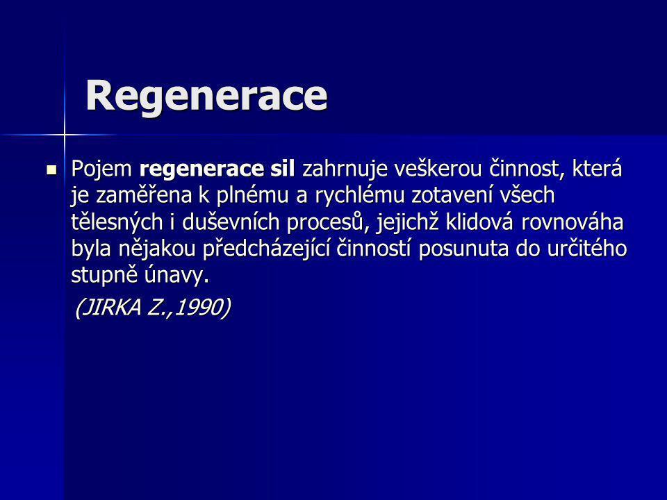 Regenerace Pojem regenerace sil zahrnuje veškerou činnost, která je zaměřena k plnému a rychlému zotavení všech tělesných i duševních procesů, jejichž