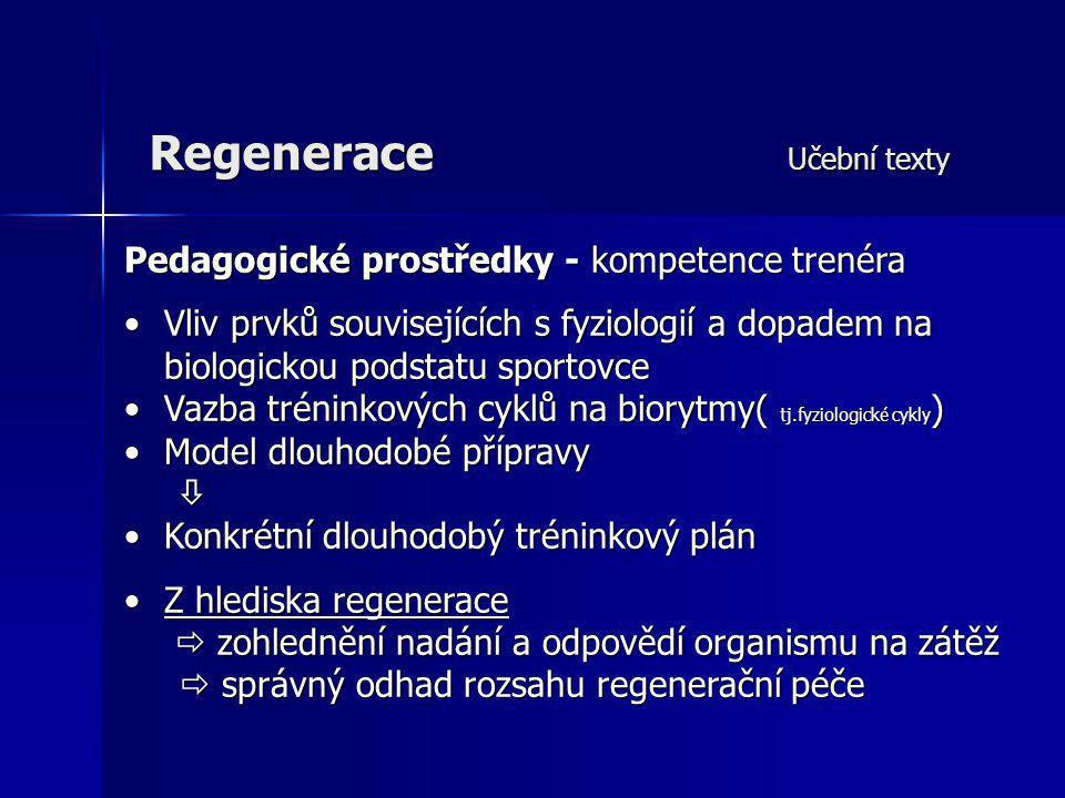 Regenerace Učební texty Pedagogické prostředky - kompetence trenéra Vliv prvků souvisejících s fyziologií a dopadem naVliv prvků souvisejících s fyzio