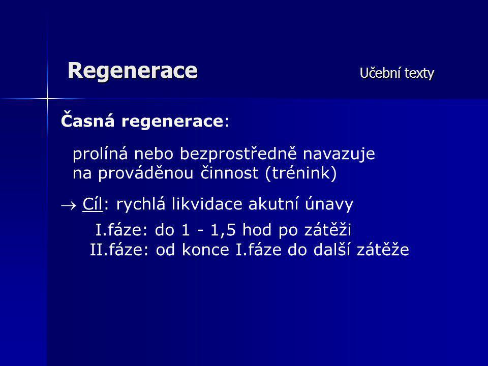 Regenerace Učební texty Časná regenerace: prolíná nebo bezprostředně navazuje na prováděnou činnost (trénink)  Cíl: rychlá likvidace akutní únavy I.f