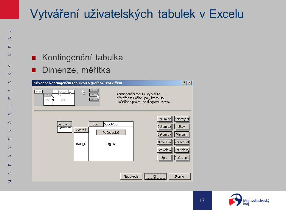 M O R A V S K O S L E Z S K Ý K R A J 17 Vytváření uživatelských tabulek v Excelu Kontingenční tabulka Dimenze, měřítka