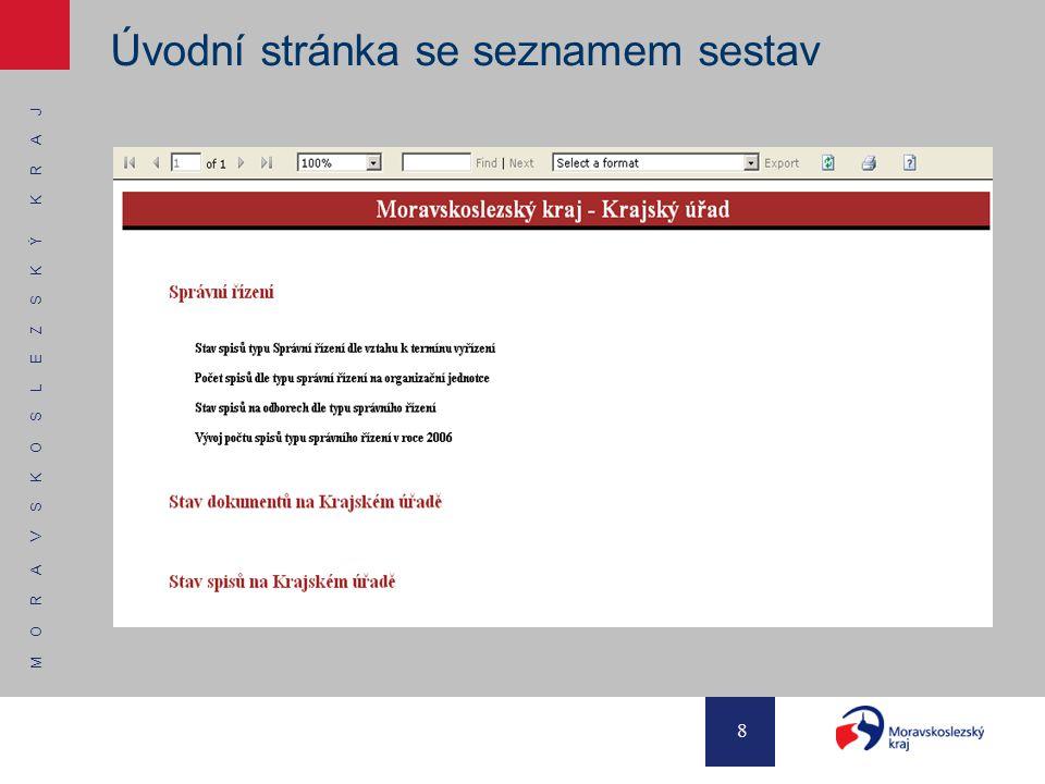 M O R A V S K O S L E Z S K Ý K R A J 8 Úvodní stránka se seznamem sestav