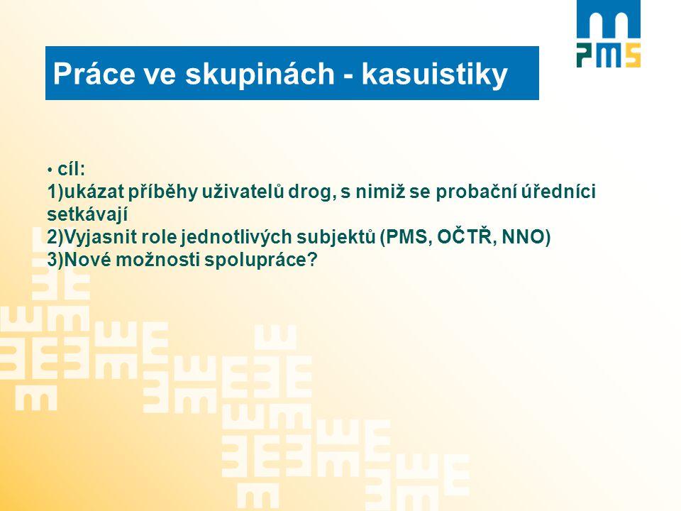 Práce ve skupinách - kasuistiky cíl: 1)ukázat příběhy uživatelů drog, s nimiž se probační úředníci setkávají 2)Vyjasnit role jednotlivých subjektů (PM