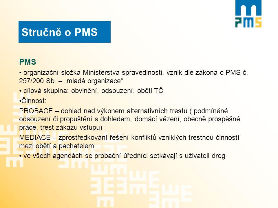 """Stručně o PMS PMS organizační složka Ministerstva spravedlnosti, vznik dle zákona o PMS č. 257/200 Sb. – """"mladá organizace"""" cílová skupina: obvinění,"""