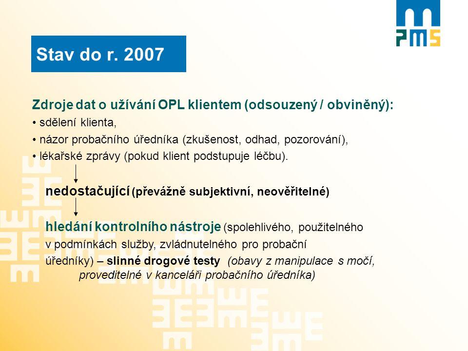 Stav do r. 2007 Zdroje dat o užívání OPL klientem (odsouzený / obviněný): sdělení klienta, názor probačního úředníka (zkušenost, odhad, pozorování), l