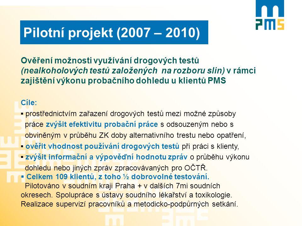 Pilotní projekt (2007 – 2010) Ověření možnosti využívání drogových testů (nealkoholových testů založených na rozboru slin) v rámci zajištění výkonu pr