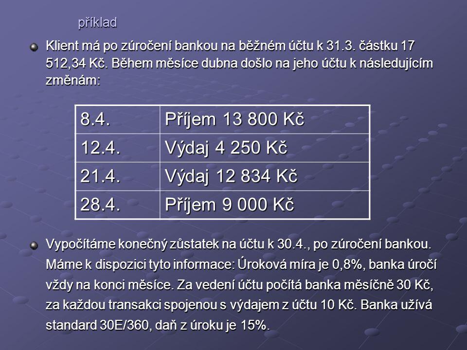 Klient má po zúročení bankou na běžném účtu k 31.3.