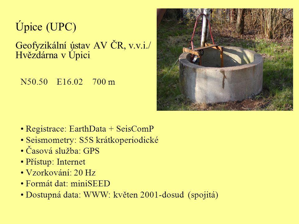 P ů vodní registra č ní za ř ízení na stanici Úpice Digitální registrační aparatura EartData + SeisComp používaná na observatořích České regionální seismické sítě od r.