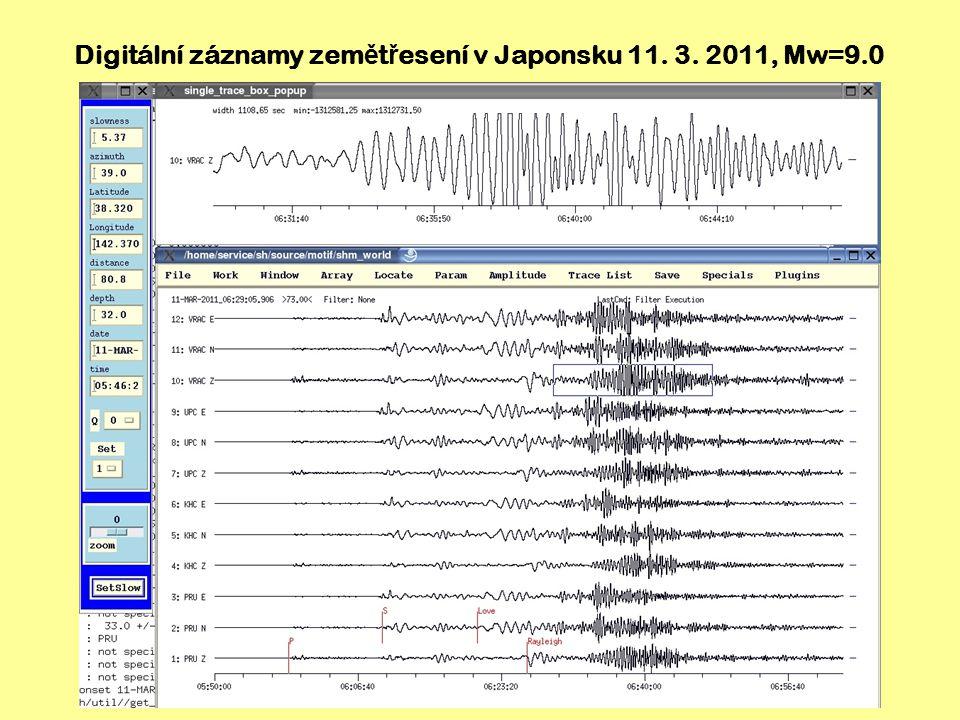 Ž ivý seismogram zem ě t ř esení v Japonsku 11. 3. 2011, Mw=9.0, stanice Úpice (UPC)