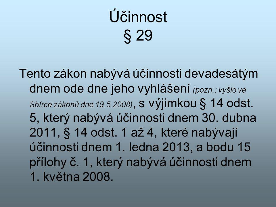 Účinnost § 29 Tento zákon nabývá účinnosti devadesátým dnem ode dne jeho vyhlášení (pozn.: vyšlo ve Sbírce zákonů dne 19.5.2008), s výjimkou § 14 odst