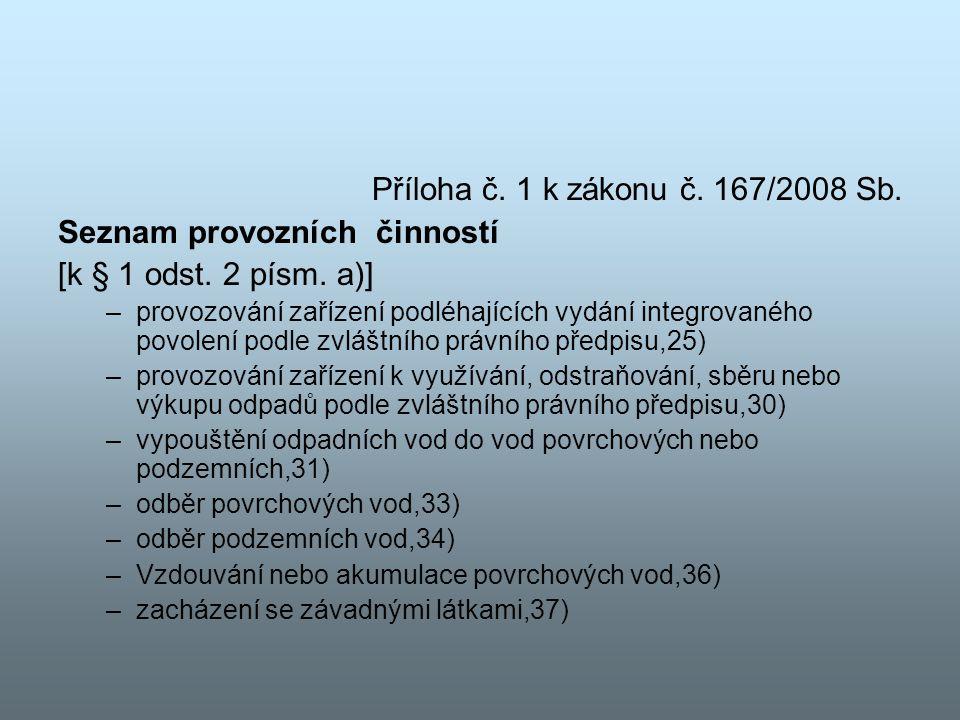 Příloha č. 1 k zákonu č. 167/2008 Sb. Seznam provozních činností [k § 1 odst. 2 písm. a)] –provozování zařízení podléhajících vydání integrovaného pov