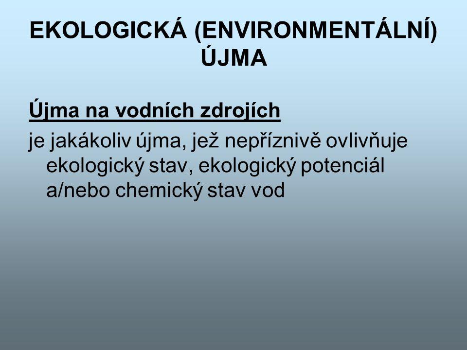 EKOLOGICKÁ (ENVIRONMENTÁLNÍ) ÚJMA Újma na vodních zdrojích je jakákoliv újma, jež nepříznivě ovlivňuje ekologický stav, ekologický potenciál a/nebo ch