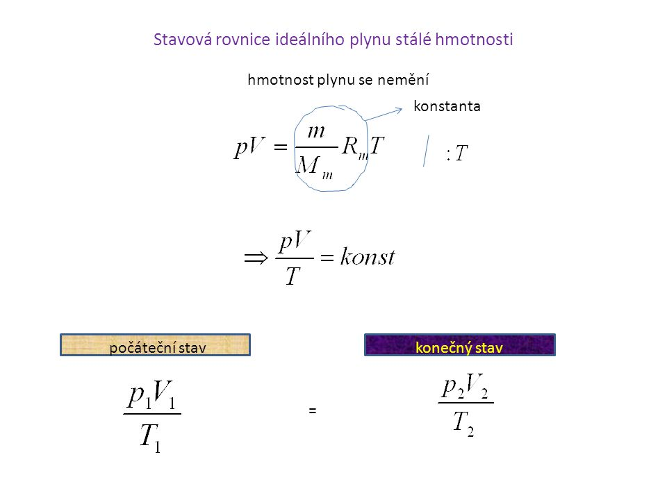 hmotnost plynu se nemění konstanta počáteční stavkonečný stav =