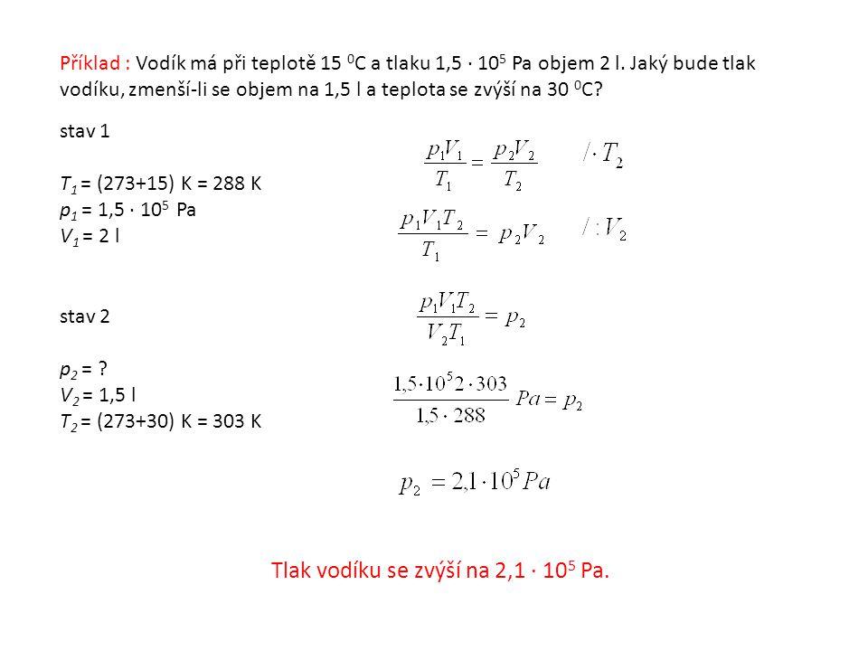 Příklad : Vodík má při teplotě 15 0 C a tlaku 1,5 · 10 5 Pa objem 2 l.