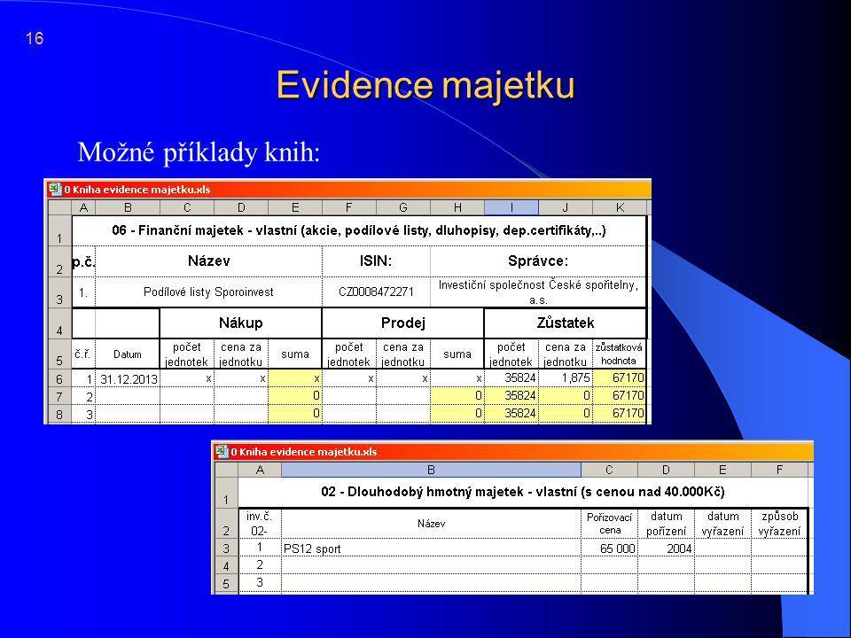 Evidence majetku  Možné příklady knih: 16