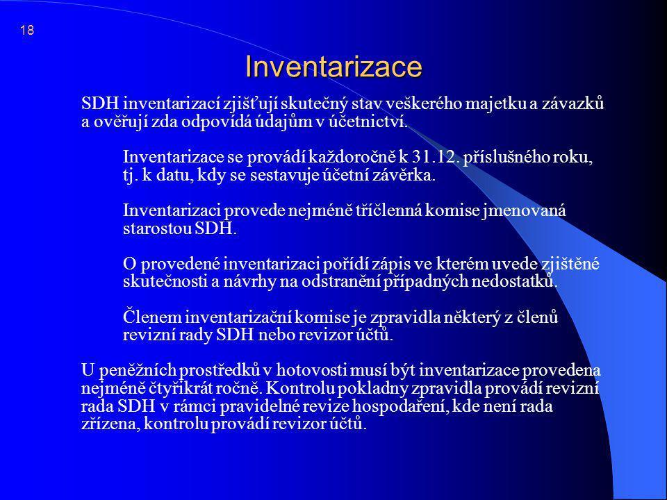 Inventarizace  SDH inventarizací zjišťují skutečný stav veškerého majetku a závazků a ověřují zda odpovídá údajům v účetnictví. Inventarizace se prov