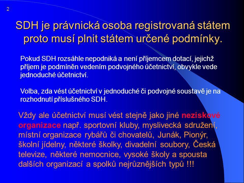 SDH je právnická osoba registrovaná státem proto musí plnit státem určené podmínky.  Pokud SDH rozsáhle nepodniká a není příjemcem dotací, jejichž př
