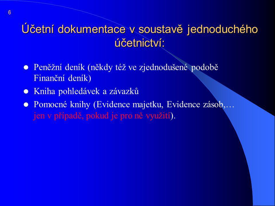 Evidence majetku  Možné příklady knih: 17