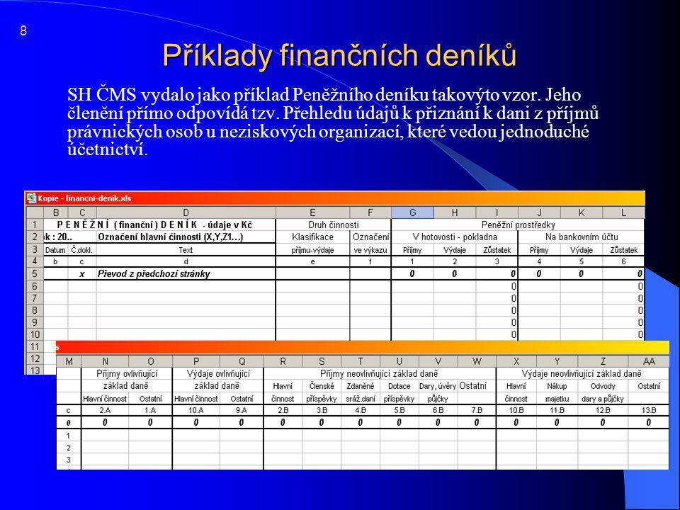 Příklady finančních deníků  Podoba peněžního deníku není předepsána, pouze jeho obsah: 9  Odlišení údajů (například barevně ve Finančním deníku) nebo samostatné vedení údajů (v Peněžním deníku) souvisejících s daní z příjmu vyplývá ze zákona o účetnictví.