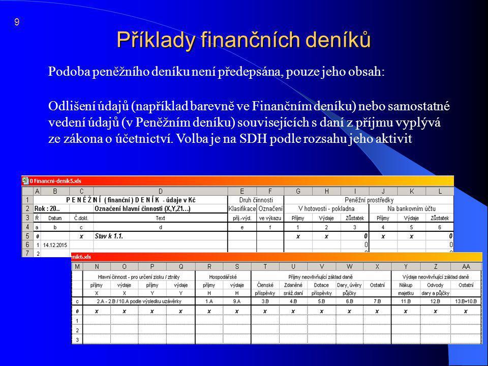 Příklady finančních deníků  Podoba peněžního deníku není předepsána, pouze jeho obsah: 9  Odlišení údajů (například barevně ve Finančním deníku) neb