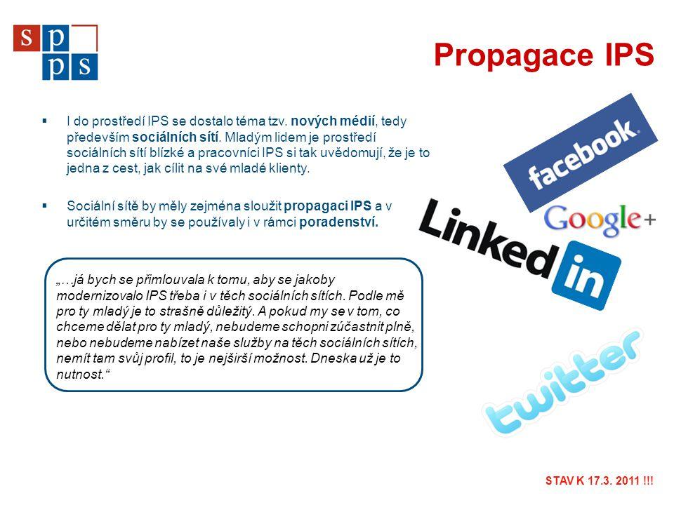 Propagace IPS  I do prostředí IPS se dostalo téma tzv. nových médií, tedy především sociálních sítí. Mladým lidem je prostředí sociálních sítí blízké