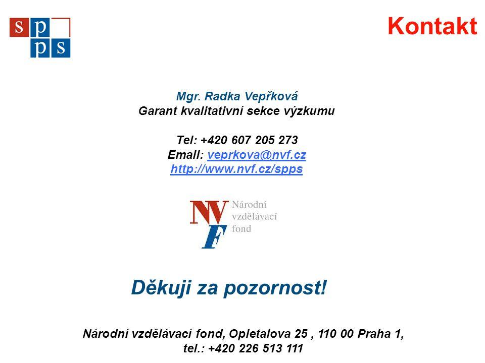 Kontakt Národní vzdělávací fond, Opletalova 25, 110 00 Praha 1, tel.: +420 226 513 111 Mgr. Radka Vepřková Garant kvalitativní sekce výzkumu Tel: +420