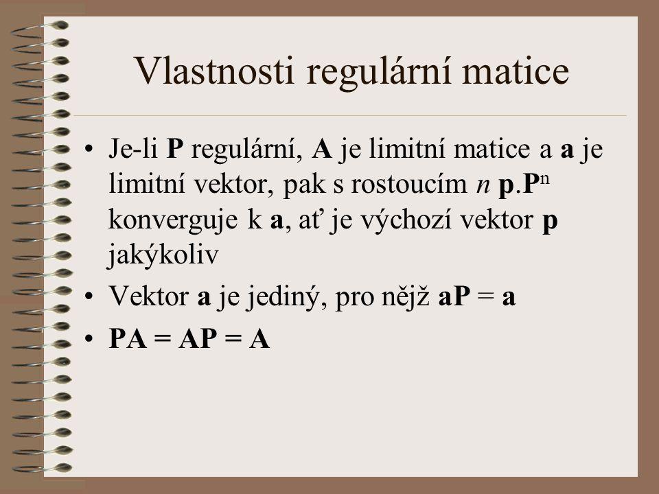 Vlastnosti regulární matice Je-li P regulární, A je limitní matice a a je limitní vektor, pak s rostoucím n p.P n konverguje k a, ať je výchozí vektor