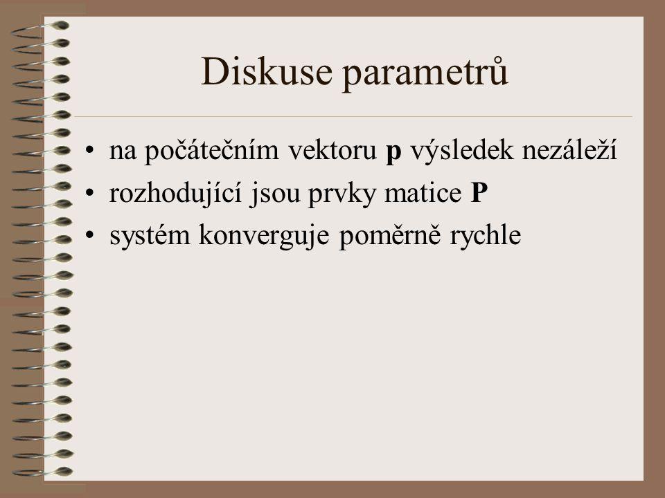 Diskuse parametrů na počátečním vektoru p výsledek nezáleží rozhodující jsou prvky matice P systém konverguje poměrně rychle