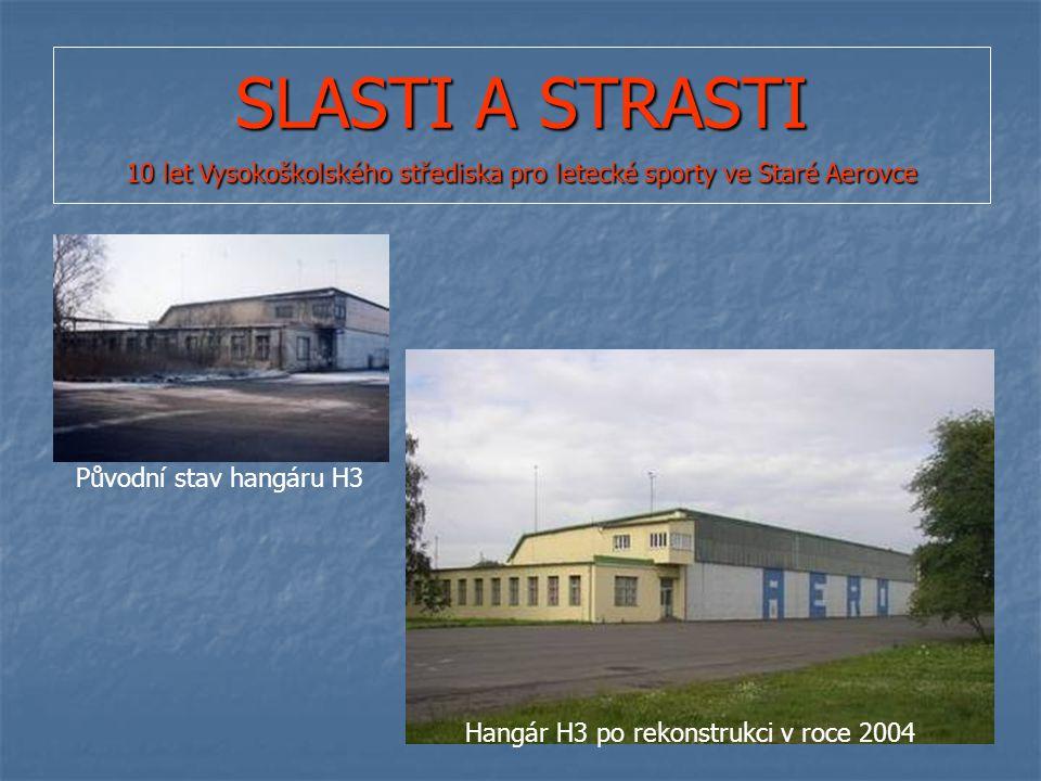 SLASTI A STRASTI 10 let Vysokoškolského střediska pro letecké sporty ve Staré Aerovce Původní stav hangáru H3 Hangár H3 po rekonstrukci v roce 2004