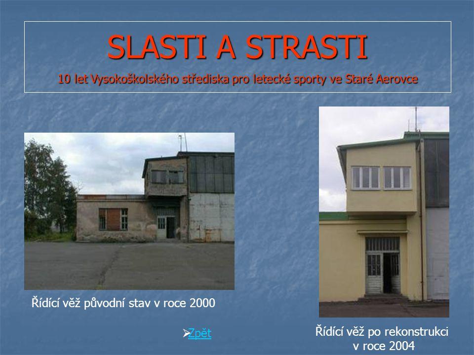 SLASTI A STRASTI 10 let Vysokoškolského střediska pro letecké sporty ve Staré Aerovce Řídící věž původní stav v roce 2000 Řídící věž po rekonstrukci v roce 2004  Zpět Zpět