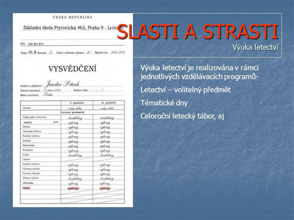 SLASTI A STRASTI Výuka letectví Výuka letectví je realizována v rámci jednotlivých vzdělávacích programů- Letectví – volitelný předmět Tématické dny Celoroční letecký tábor, aj