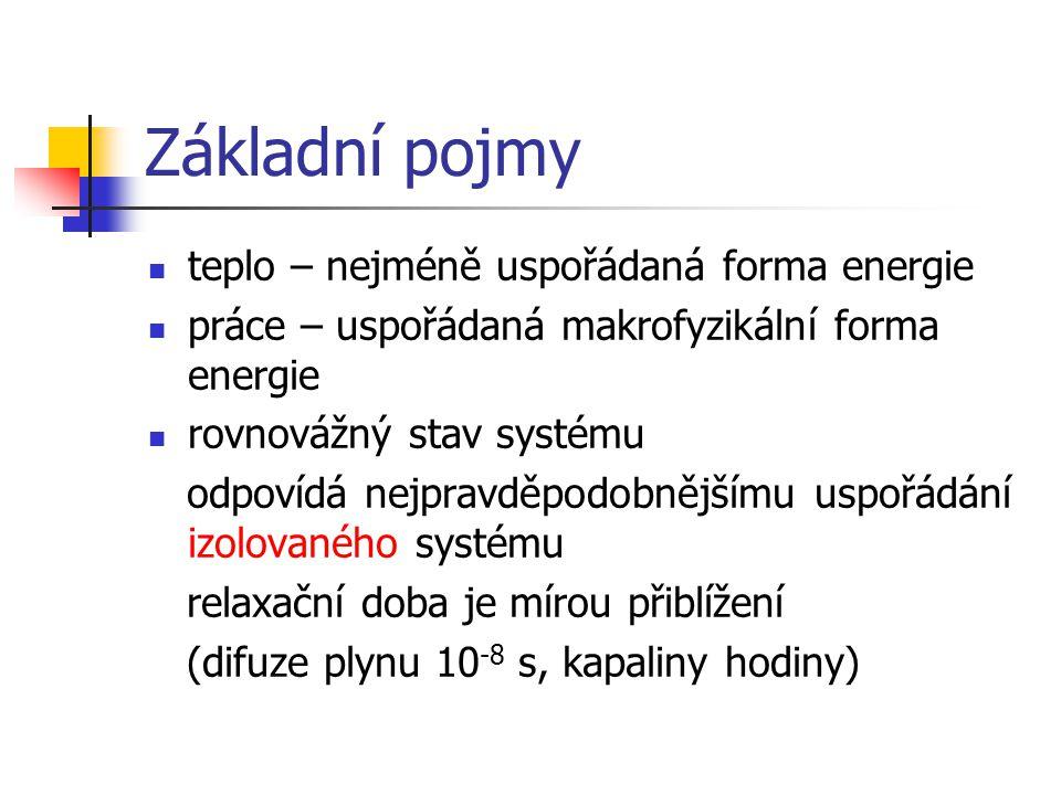 Základní pojmy teplo – nejméně uspořádaná forma energie práce – uspořádaná makrofyzikální forma energie rovnovážný stav systému odpovídá nejpravděpodo