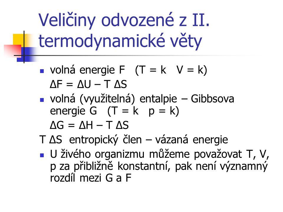 Veličiny odvozené z II. termodynamické věty volná energie F (T = k V = k) ΔF = ΔU – T ΔS volná (využitelná) entalpie – Gibbsova energie G (T = k p = k