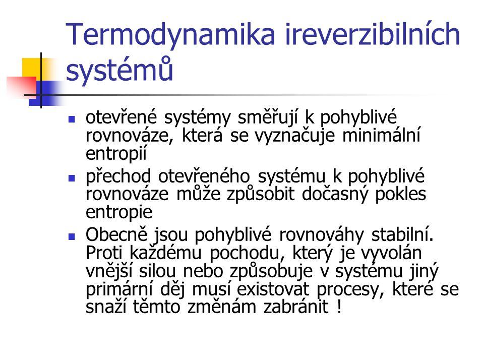 Termodynamika ireverzibilních systémů otevřené systémy směřují k pohyblivé rovnováze, která se vyznačuje minimální entropií přechod otevřeného systému