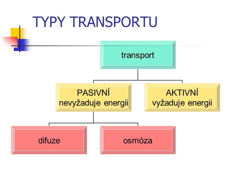 TYPY TRANSPORTU transport PASIVNÍ nevyžaduje energii difuzeosmóza AKTIVNÍ vyžaduje energii