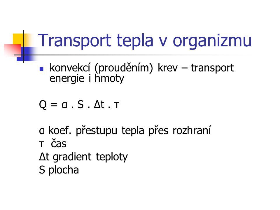 Transport tepla v organizmu konvekcí (prouděním) krev – transport energie i hmoty Q = α. S. Δt. τ α koef. přestupu tepla přes rozhraní τ čas Δt gradie