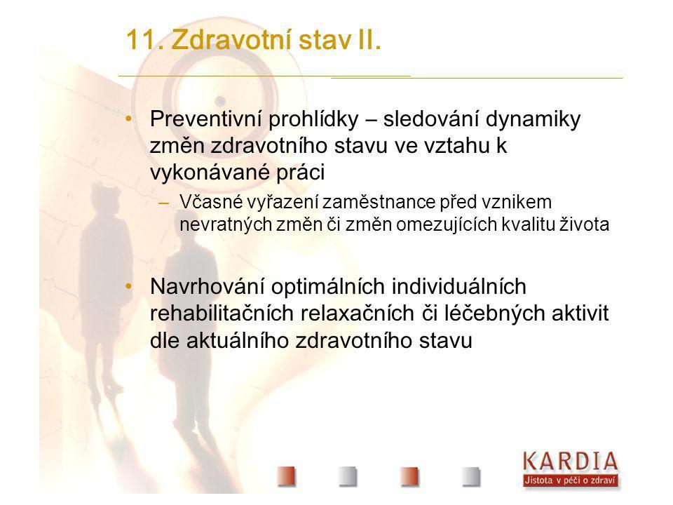 11. Zdravotní stav II. Preventivní prohlídky – sledování dynamiky změn zdravotního stavu ve vztahu k vykonávané práci –Včasné vyřazení zaměstnance pře