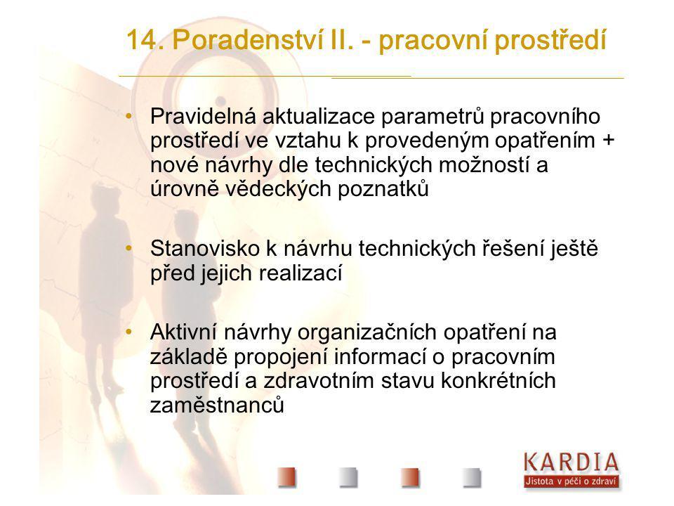 14. Poradenství II. - pracovní prostředí Pravidelná aktualizace parametrů pracovního prostředí ve vztahu k provedeným opatřením + nové návrhy dle tech