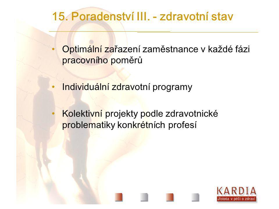 15. Poradenství III. - zdravotní stav Optimální zařazení zaměstnance v každé fázi pracovního poměrů Individuální zdravotní programy Kolektivní projekt