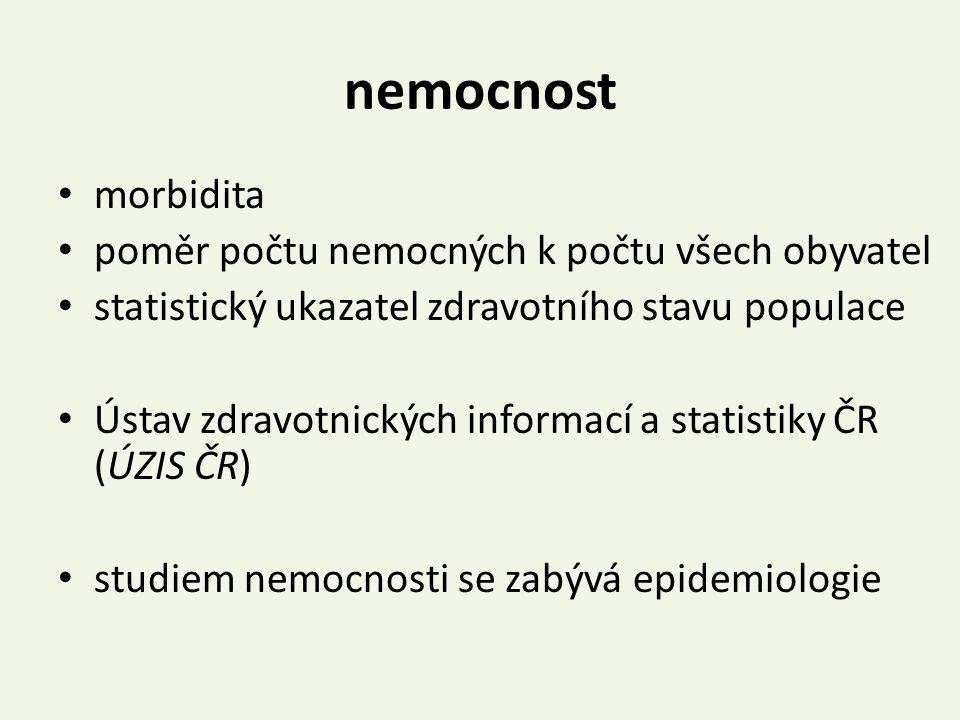 nemocnost morbidita poměr počtu nemocných k počtu všech obyvatel statistický ukazatel zdravotního stavu populace Ústav zdravotnických informací a stat