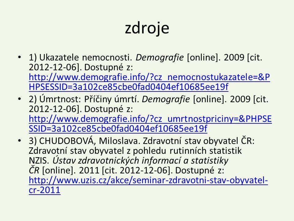 zdroje 1) Ukazatele nemocnosti. Demografie [online]. 2009 [cit. 2012-12-06]. Dostupné z: http://www.demografie.info/?cz_nemocnostukazatele=&P HPSESSID
