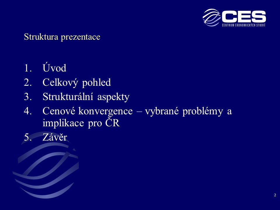 2 Struktura prezentace 1.Úvod 2.Celkový pohled 3.Strukturální aspekty 4.Cenové konvergence – vybrané problémy a implikace pro ČR 5.Závěr