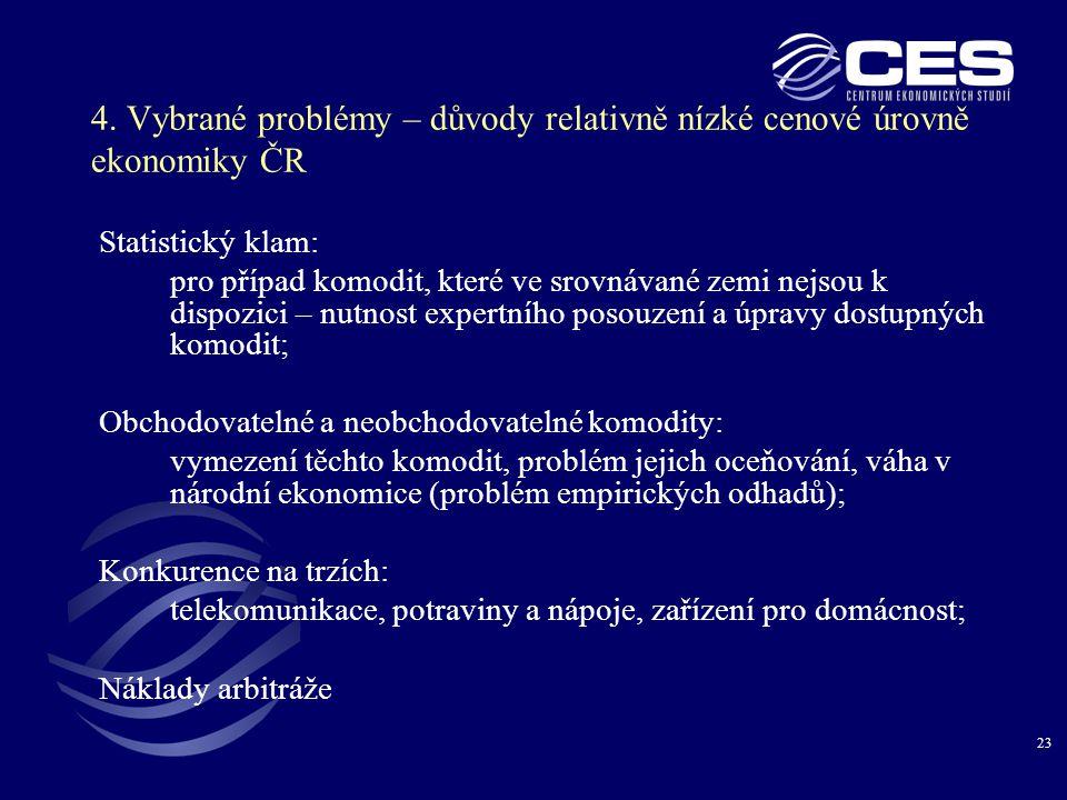 23 4. Vybrané problémy – důvody relativně nízké cenové úrovně ekonomiky ČR Statistický klam: pro případ komodit, které ve srovnávané zemi nejsou k dis